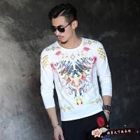 秋季男士圆领T恤男长袖韩版修身大码打底衫潮流体恤男装印花衣服