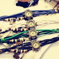 韩国个性时尚潮流学生手表 石英编织复古女表皮手链表