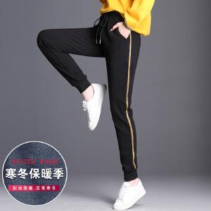 新款运动裤女加绒加厚宽松韩版百搭束脚长裤