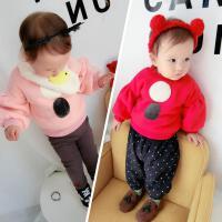 22直播婴幼儿童宝宝时尚加绒圆圈卫衣绒衫打底衫百搭款0-5岁秋冬
