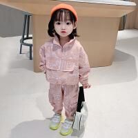 女童运动套装春装儿童工装女宝宝衣服洋气小童