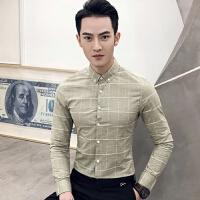 2018春装新款英伦风格子长袖衬衫青年时尚都市潮男帅哥修身型衬衣