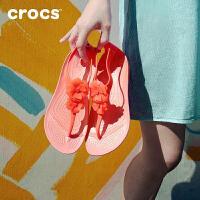 Crocs凉鞋女夏卡骆驰2021新款瑟琳娜闪亮花朵夹脚人字凉鞋 205600 瑟琳娜女士闪亮人字凉鞋