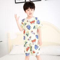 儿童睡衣夏季男童女童绸男孩绵绸薄款短袖宝宝空调家居服套装