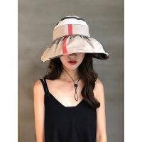 户外出游遮脸防紫外线折叠太阳帽遮阳帽女韩版防晒帽空顶遮阳帽
