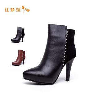 【专柜正品】红蜻蜓尖头侧拉链水钻细高跟时尚女靴子