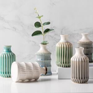 奇居良品 现代简约陶瓷水培小花插摆瓶 哈里条纹小花瓶摆瓶