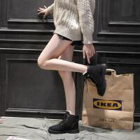 冬季加绒靴子短靴chic马丁靴女英伦风网红瘦瘦靴百搭女鞋