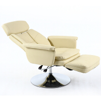 美容面膜体验椅子美睫美甲化妆躺椅可搁脚平躺电脑午休办公椅 米色韩皮 升级款 钢制脚 固定扶手