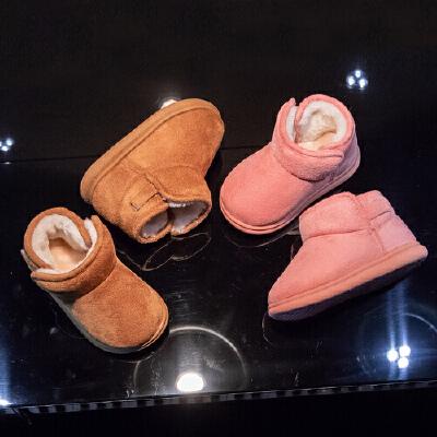 宝宝棉鞋冬加绒时尚新款男女童雪地靴1-3岁儿童低筒短靴防滑软底 品质保证 售后无忧