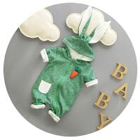 婴儿衣服冬季新生儿连体衣纯棉加厚加绒韩版爬爬服6-9个月哈衣潮