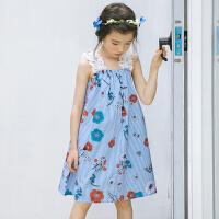 儿童沙滩裙海边度假公主无袖连衣裙韩国女童碎花蕾丝吊带裙中大童