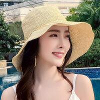 可折叠太阳大沿防晒沙滩凉帽帽子女草帽海边百搭大帽檐遮阳帽