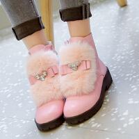 韩版女童靴子冬季加绒小女孩儿童靴皮面岁大童中学生雪地短靴