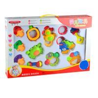 美贝乐 0-1岁宝宝牙胶摇铃12件套装 婴儿玩具礼盒MS0031