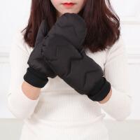 羽绒手套男女士冬季保暖加绒加厚摩托骑车滑雪防水防寒连指手套新品 均码