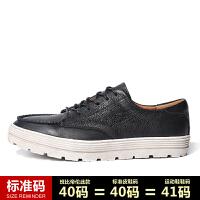 CUM 青年休闲皮鞋复古牛皮休闲鞋男英伦风厚底板鞋潮流时尚男鞋子
