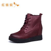 红蜻蜓女靴新款时尚潮流个性百搭舒适系带短靴女-