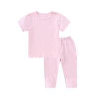 小猪班纳童装儿童睡衣夏季新款宝宝短袖t恤裤子两件套女童家居服