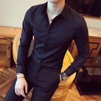 衬衫男士修身商务发型师长袖衬衣男韩版帅气青年白色寸衣