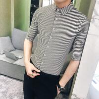 男士短袖衬衫夏韩版修身帅气商务衫衣英伦休闲百搭条纹衬衣五分袖