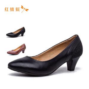 红蜻蜓秋季新款时尚尖头简约粗跟低跟女单鞋