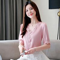 衬衫 女士V领宽松拼贴短袖衬衫2019年夏季新款韩版时尚洋气仙女范女式清新甜美女装雪纺衫