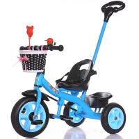 儿童三轮车脚踏车小孩单车1-3-5-2-6岁大号手推车男女宝宝自行车 尊贵蓝 大S豪华蓝色+手推