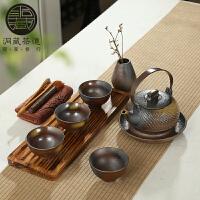 思故轩粗陶茶具套装柴烧复古日式茶具实木茶盘干泡茶台陶土整套茶具CMZ1723