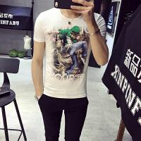 2018夏季新款t恤男短袖 潮流男装印花体恤衫男装纯棉英伦男士小衫