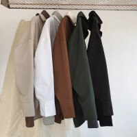 新款韩版宽松假两件长袖衬衫男士纯色百搭衬衣学生寸衫潮