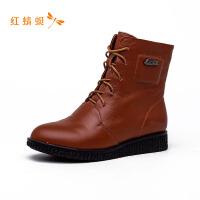 【专柜正品】红蜻蜓纯色系带低跟舒适时尚女靴子