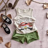 儿童背心2018夏季薄款打底衫宝宝夏装童装女童男童小汽车无袖上衣