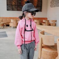 女童加厚卫衣加绒双12新款童装冬中小童连帽外套儿童韩版保暖上衣