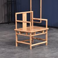 实木新中式圈椅官帽椅餐椅橡木休闲围椅靠背椅子矮凳家用现代简约 小官帽椅单把 【运费到付】