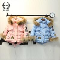 女童2016新款 冬季羽绒衣棉袄 韩版有帽真毛领保暖童装棉衣