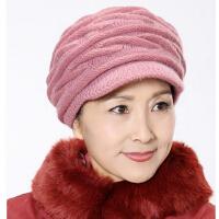 中老年女士 老人帽子秋冬褶皱贝雷帽 保暖帽子  兔毛妈妈冬天帽子