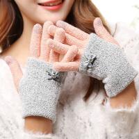 韩版手套女冬天学生可爱女士冬季蝴蝶结加厚保暖手臂套毛线手套