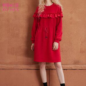 妖精的口袋耶诞森林秋冬装新款复古圆领木耳边连衣裙女长袖连衣裙