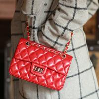 新款羊皮链条小香风欧美时尚菱格包单肩斜跨女包真皮小包包2.55经典包
