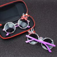 宝宝儿童太阳镜墨镜2-10女童潮小童女孩眼镜 紫色 兔耳朵