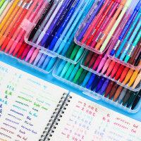 慕娜美3000纤维笔彩色中性笔套装做笔记专用糖果色少女心慕那美水性笔软头手帐笔手绘细头水笔七色学生36色