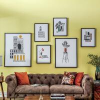 奇居良品 现代简约北欧客厅墙装饰挂画 卡加其黑框原创装饰画套装