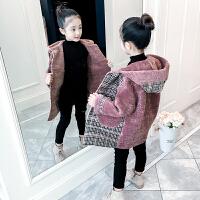 女童洋气外套冬装中大童大衣秋冬中长款上衣儿童仿皮草潮