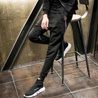 新款潮男士韩版修身小脚休闲裤男长裤子男装个性拉链装饰哈伦裤夜