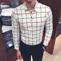 秋季长袖衬衫大码村杉忖韩版修身寸衫男士衬衣格子理发师酒吧工装