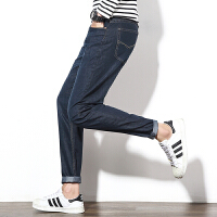 初春新款男士修身牛仔裤裤韩版个性潮流男裤青少年直筒裤