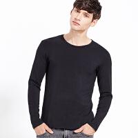 2件3折 纯棉修身长袖T恤男士 春秋季圆领黑色白色灰色运动打底衫男装体恤58005