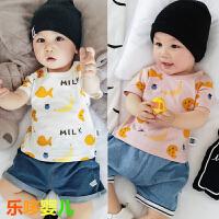 婴儿夏季上衣新生儿T恤衫卡通印花纯棉短袖夏装0-1岁宝宝外出衣服