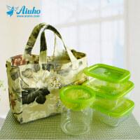 爱优活 磁扣小拎包饭盒袋便当包 防水印花午餐便当袋饭盒包帆布包